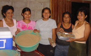 Women in San Pedro del Norte, Chinandega Nicaragua showing their Maya Nut products. Erika Vohman photo